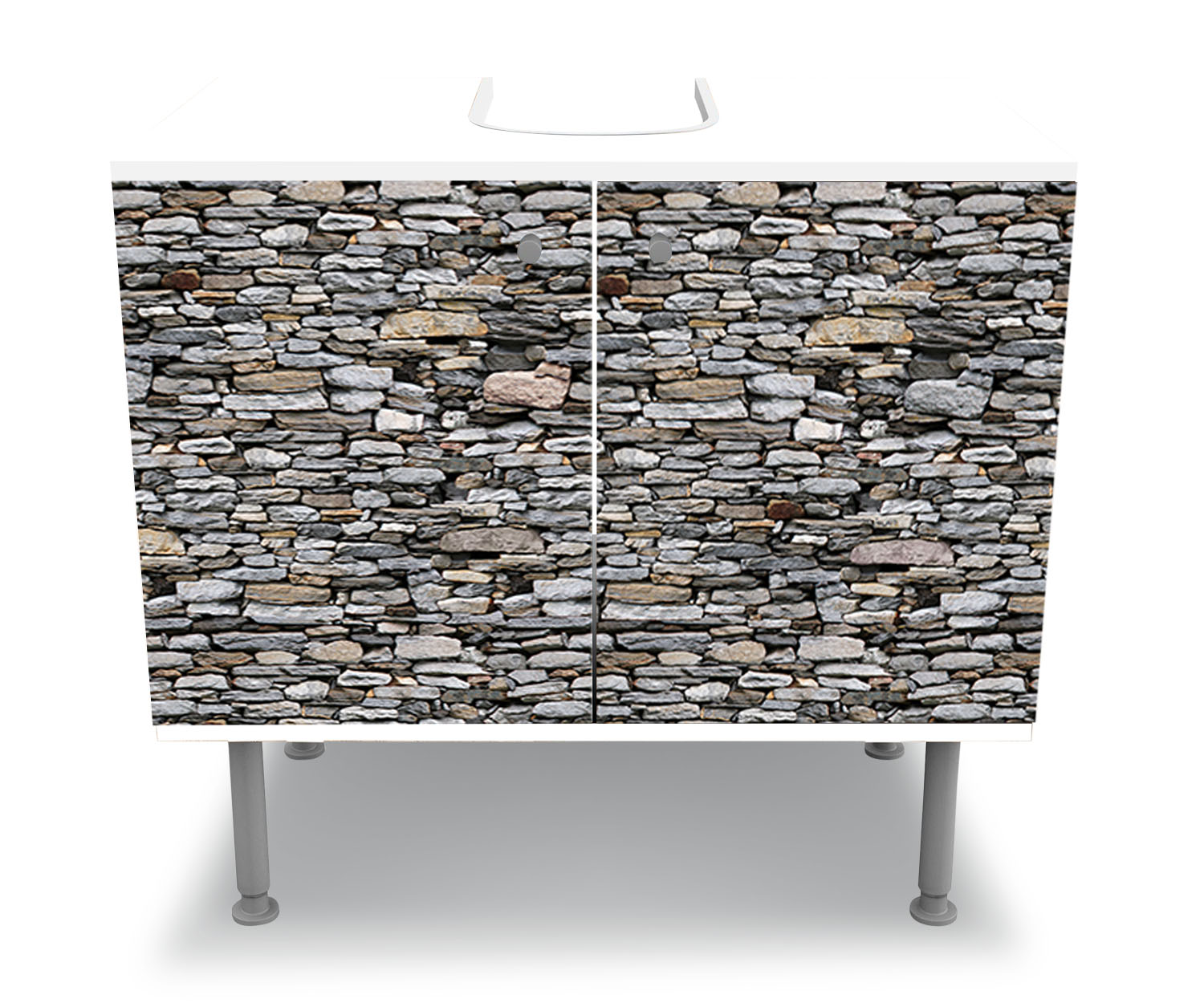badunterschrank steinmauer grau designschrank bad m0022 ebay. Black Bedroom Furniture Sets. Home Design Ideas