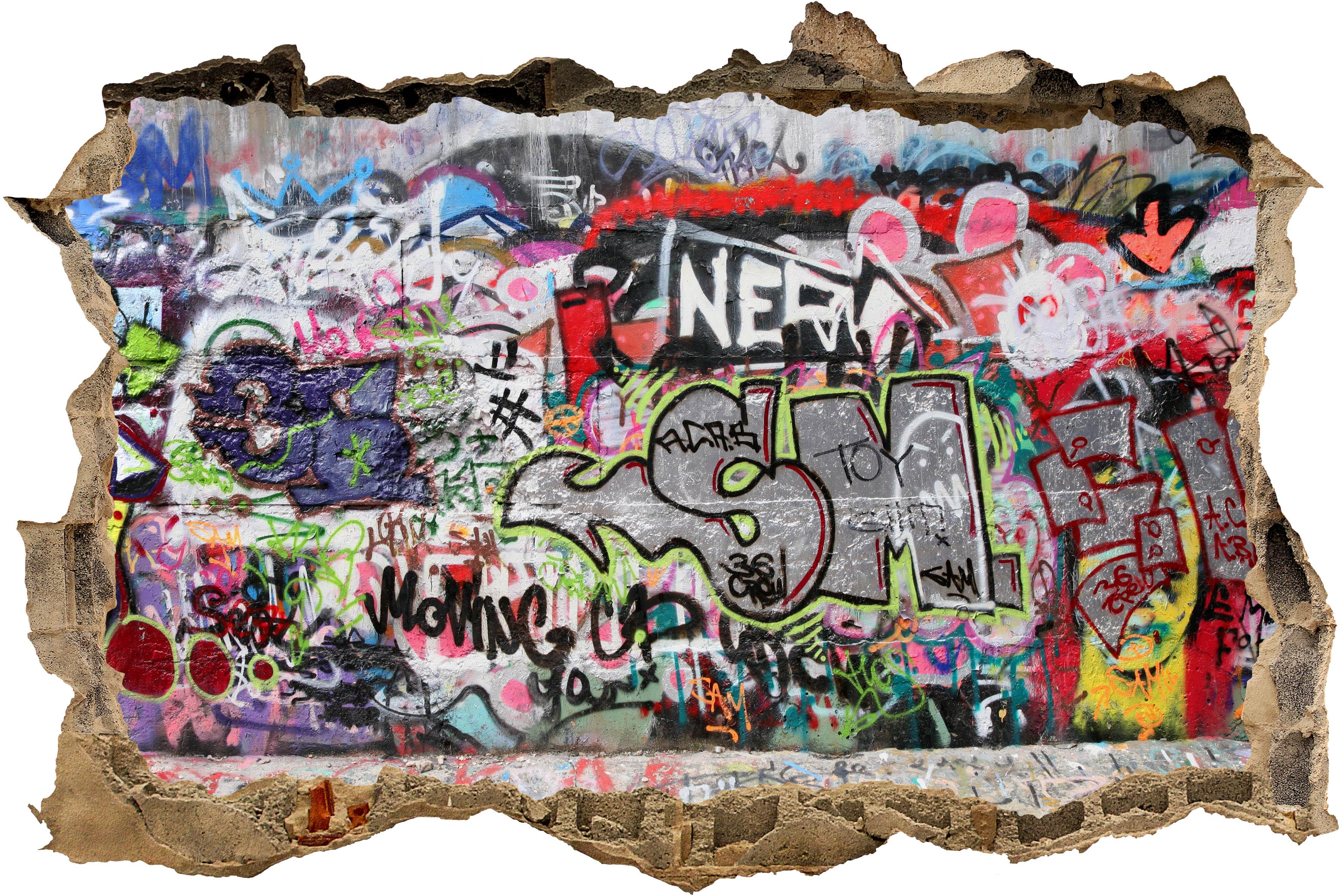 3d wandsticker graffiti 1 aufkleber mauerdurchbruch m0025 ebay - Wandsticker graffiti ...