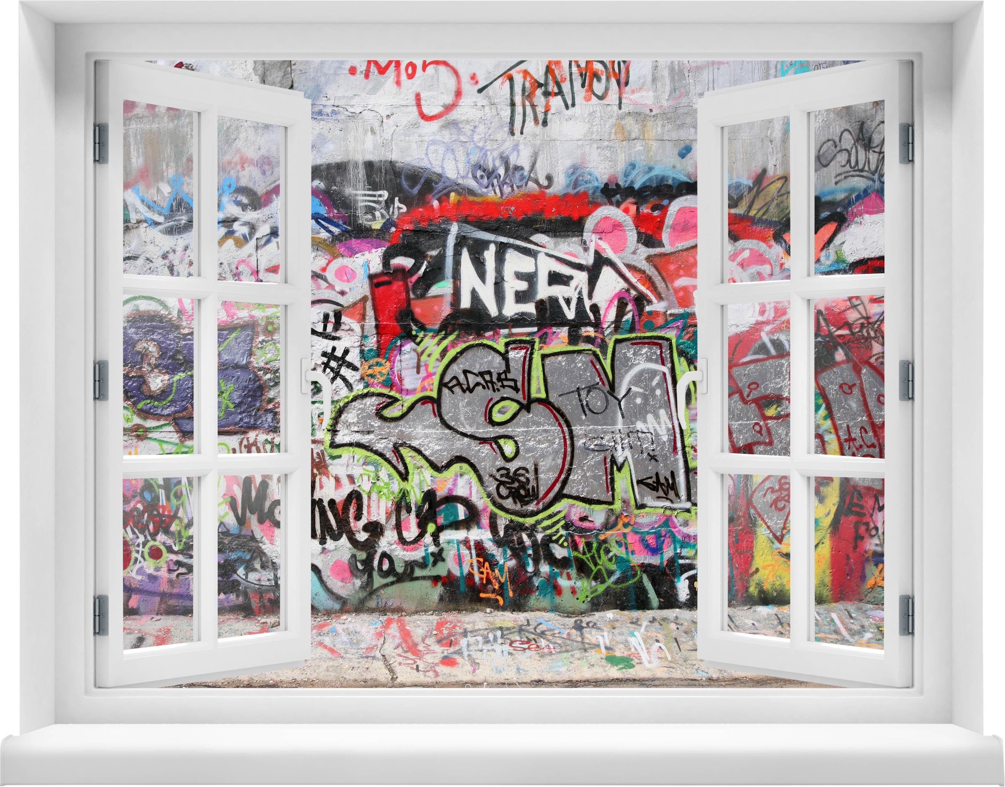 3d wandsticker graffiti 1 aufkleber mauerdurchbruch m0025 - Wandsticker graffiti ...