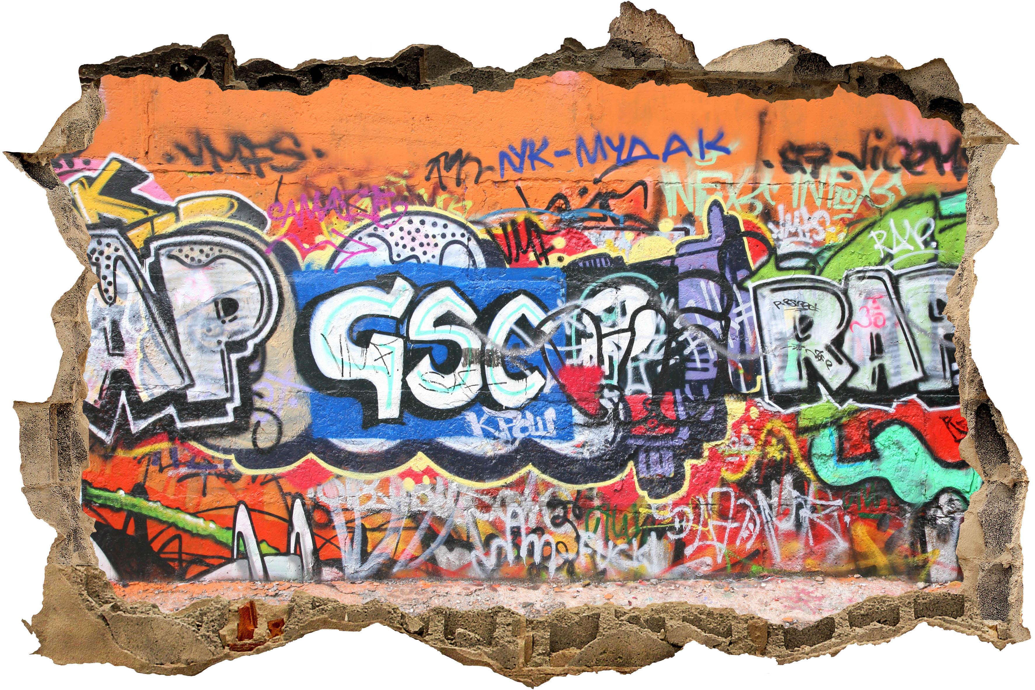 3d wandsticker graffiti 3 aufkleber mauerdurchbruch m0027 ebay - Wandsticker graffiti ...