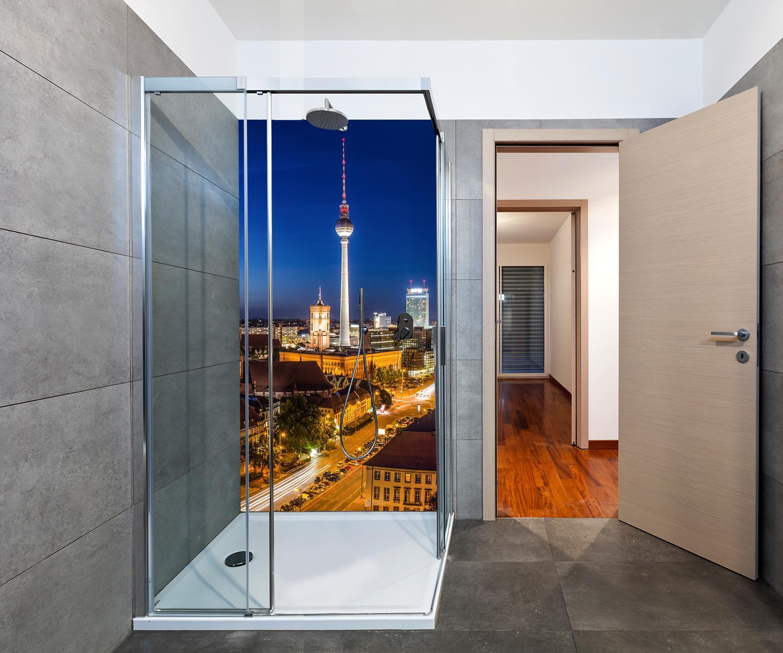 duschr ckwand berlin bei nacht deko design m0290 ebay. Black Bedroom Furniture Sets. Home Design Ideas