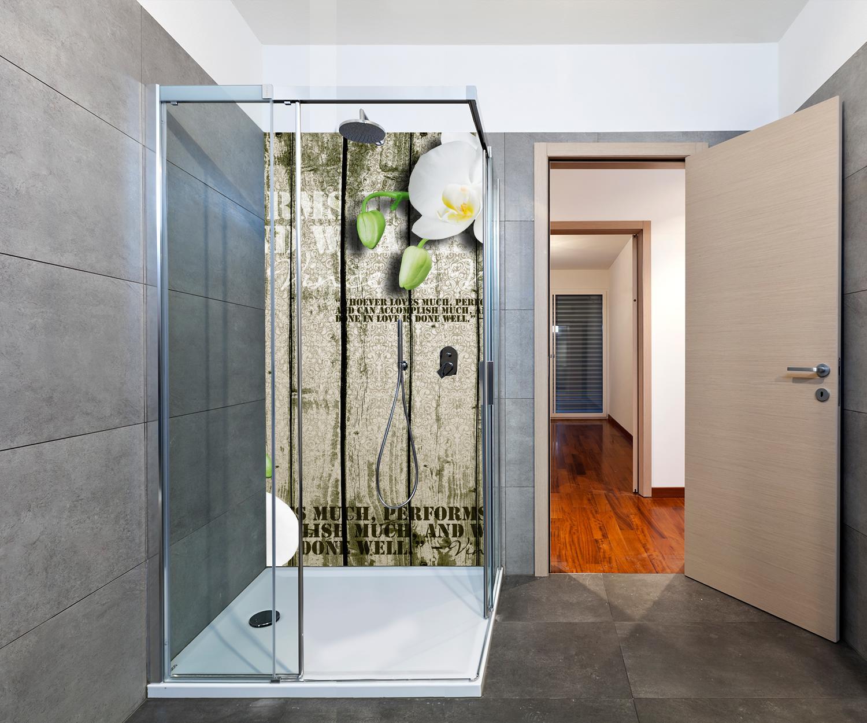duschr ckwand holz zaun wei e orchidee deko design m0539 ebay. Black Bedroom Furniture Sets. Home Design Ideas