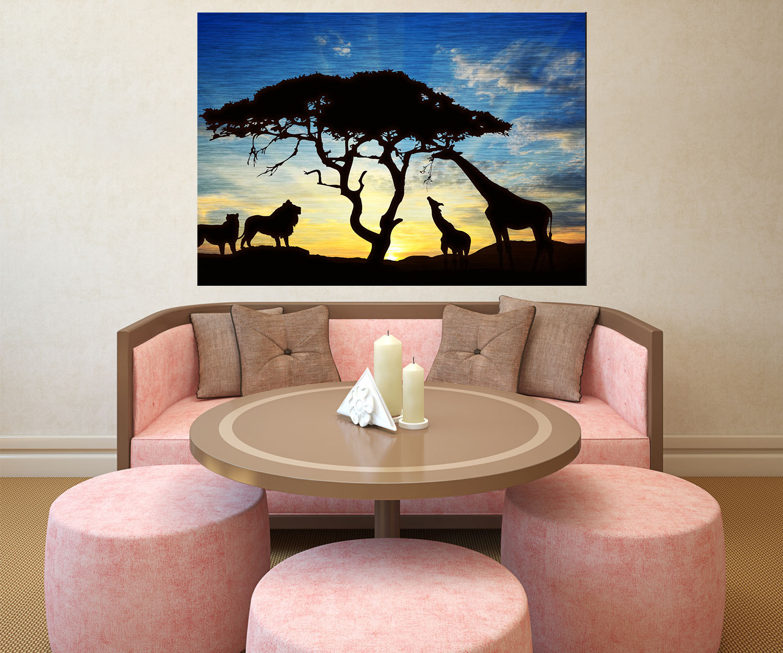wandbild glasbild afrikanische schatten wandmotiv wb0521 ebay. Black Bedroom Furniture Sets. Home Design Ideas