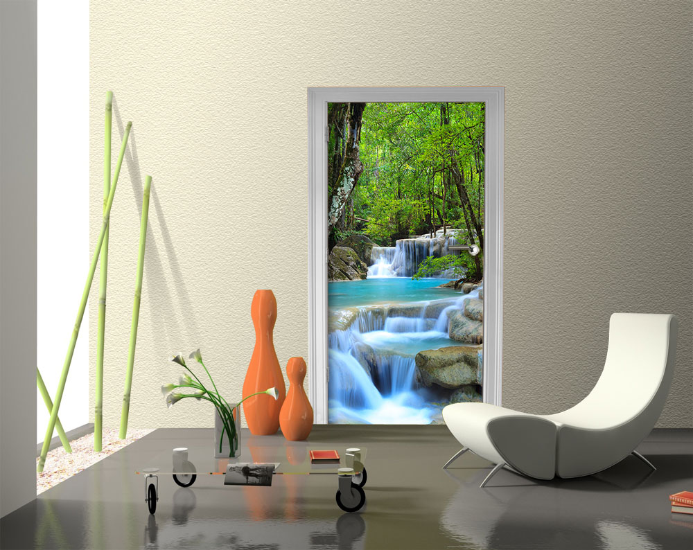 fototapete wasserfall im wald vliestapete wandtapete m0485. Black Bedroom Furniture Sets. Home Design Ideas