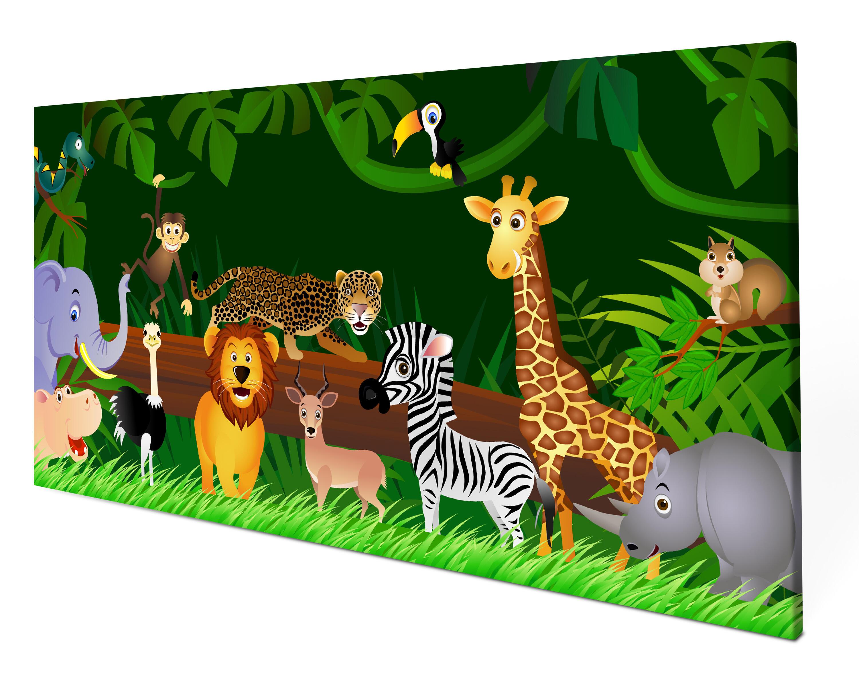 Leinwandbild Dschungeltiere Panoramabild Kunstdrucke M0002