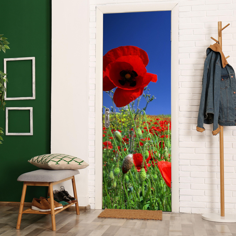 Türbild Tür-Aufkleber Wandbild M0046 Türtapete Mohnblumenfeld Tapete