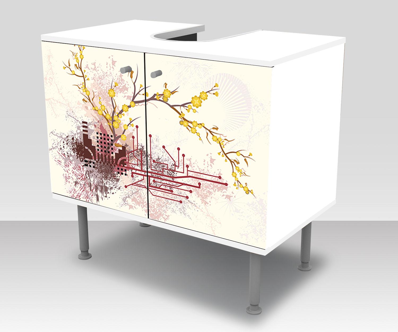 Badunterschrank Haruka rétro fleurs design armoire bains salle de bains armoire m0057 7ba162