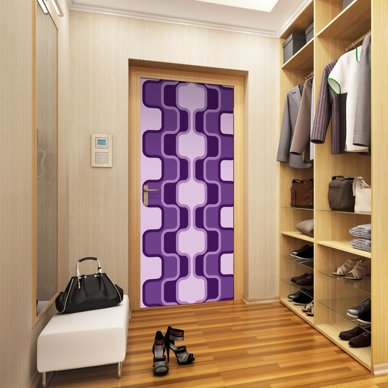 Türtapete Retromuster Violett Muster Tapete Kunstdruck Türbild M0115