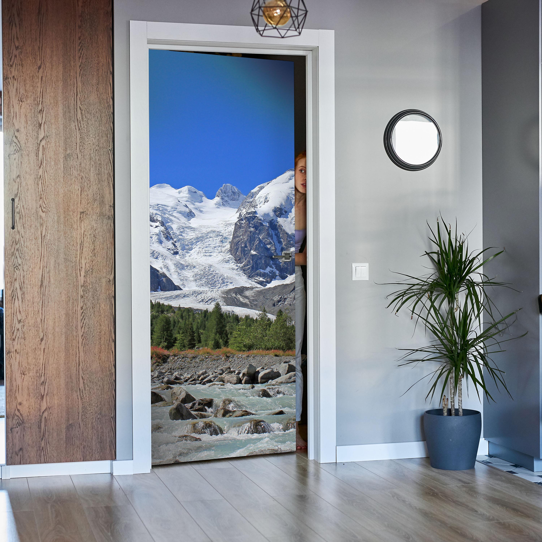 Tür-Aufkleber Türtapete Morteratsch Gletscher Alpen Tapete Wandbild M0236