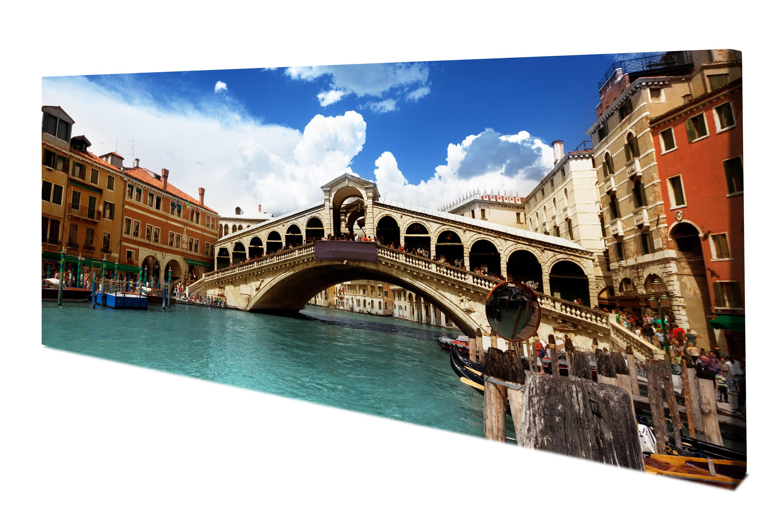 Leinwandbild Rialtobrücke Venedig Panoramabild Kunstdrucke M0298
