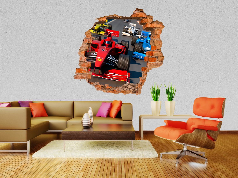 3d wandsticker formel 1 grand prix aufkleber mauerdurchbruch m0385 ebay. Black Bedroom Furniture Sets. Home Design Ideas