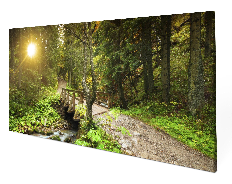 Leinwandbild Waldweg mit Bach Panoramabild Kunstdrucke M0397