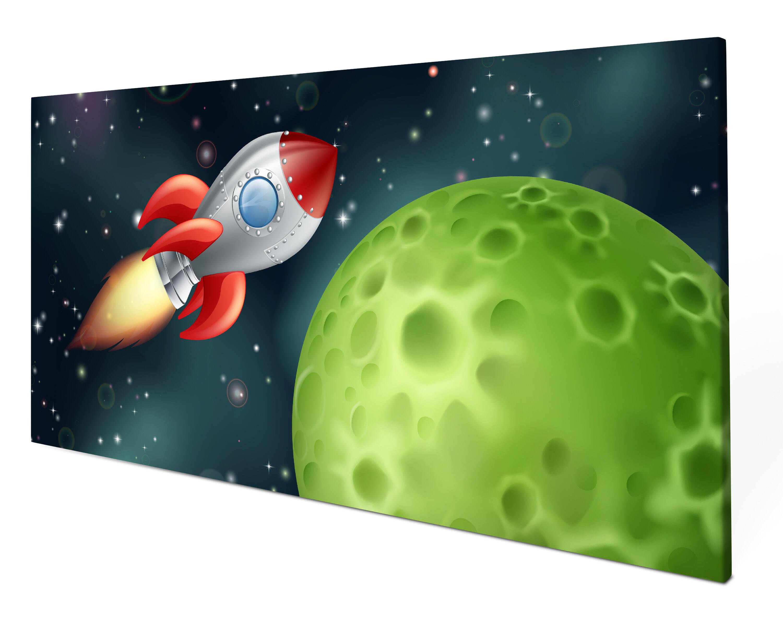 Leinwandbild Rakete im Weltall Panoramabild Kunstdrucke M0432