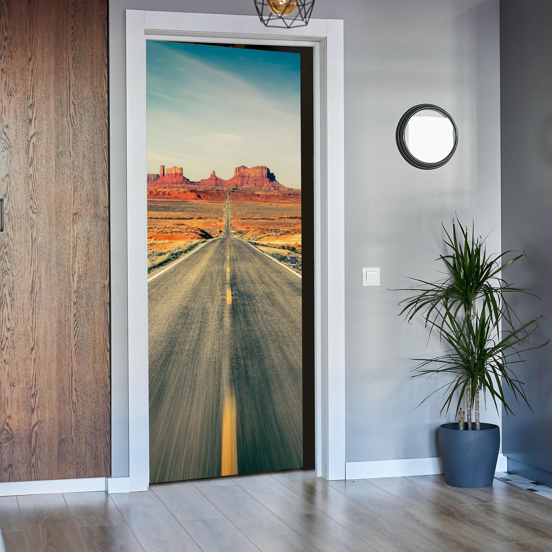 Türtapete Highway Monument Valley Tapete Tür Türaufkleber Türbild Aufkleber
