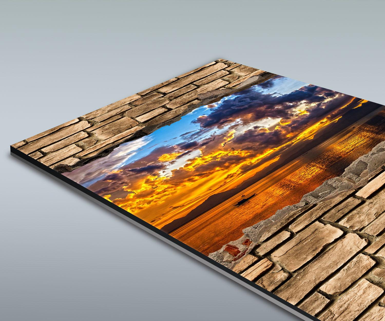 Duschr Ckwand 3d Optik Sonnenuntergang Steinmauer Deko