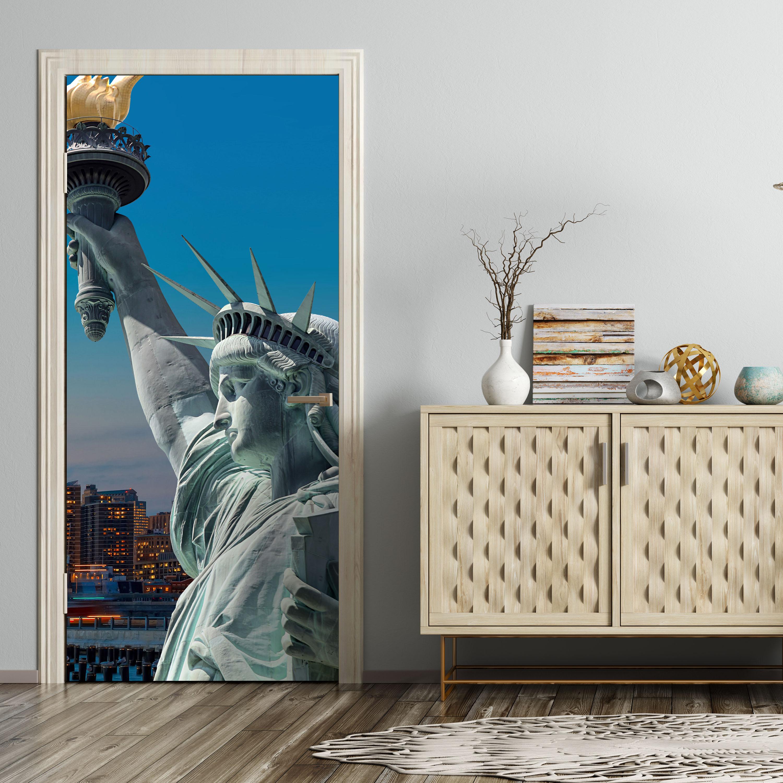 Türtapete New York Skyline Freiheitsstatue Tür Türaufkleber  Aufkleber