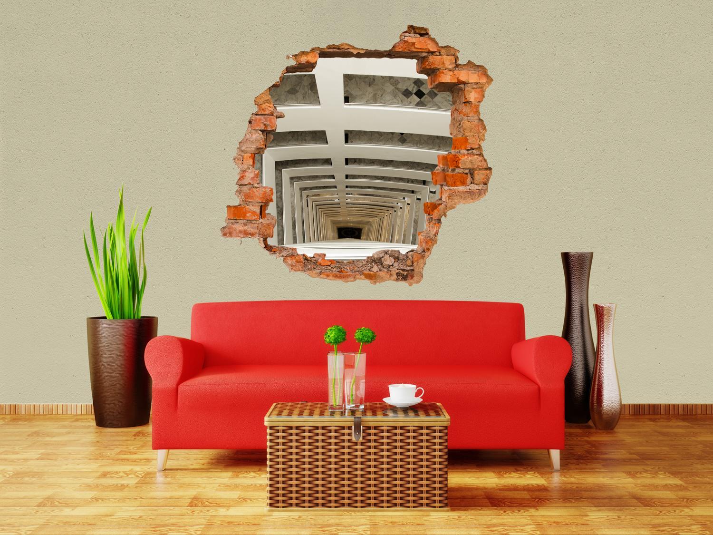 3d wandsticker treppenhaus im haus aufkleber mauerdurchbruch m0793 ebay. Black Bedroom Furniture Sets. Home Design Ideas