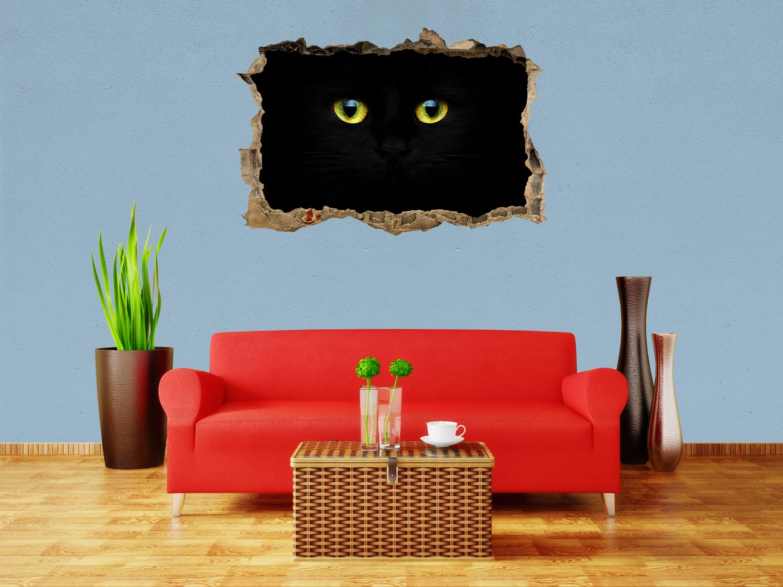 3d-pared Sticker misterioso gatos ojos pegatinas muro por rotura m1015